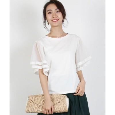 tシャツ Tシャツ チュール+グログラン袖プルオーバー