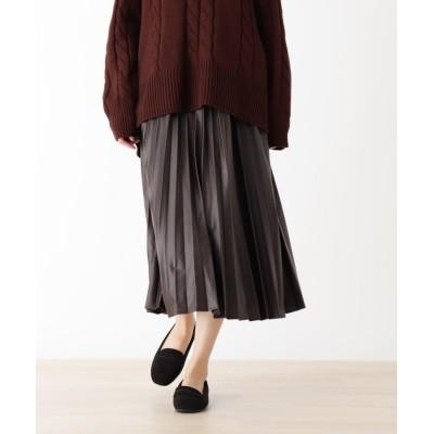 SHOO・LA・RUE/DRESKIP(シューラルー/ドレスキップ) 【M-LL】エコレザープリーツスカート