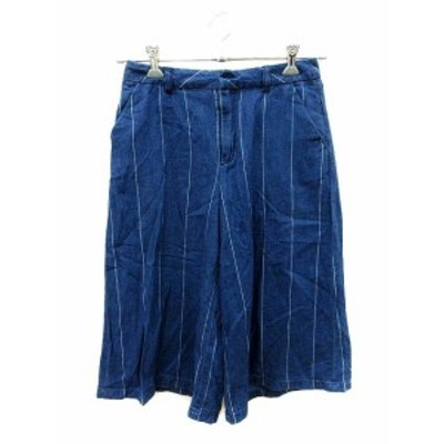 【中古】マウジー moussy パンツ ガウチョ デニム ストライプ 2 青 ブルー /ST レディース