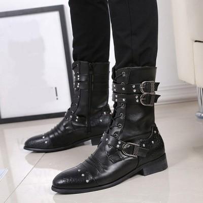 イギリス風 レザー 長靴 ショートブーツ メンズ サイドジッパー式 ミリタリーブーツ 乗馬ブーツ レースアップ シークレット 裏起毛 カジュアル シューズ