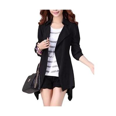 ジャケット ゆるカジ レディース 変形裾 ロング コート シンプル モード カジュアル パフスリーブ