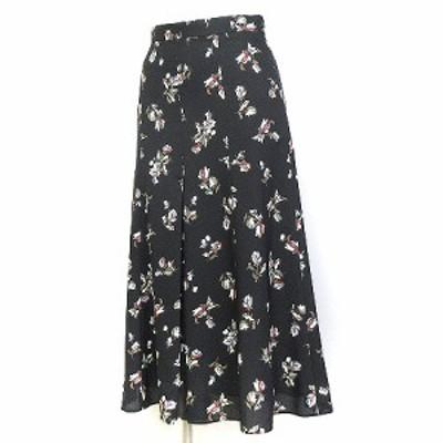 【中古】未使用品 アンタイトル タグ付き スカート ロング フレア フラワー 花柄 プリント マーメイド ブラック XXS