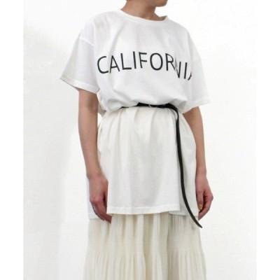 tシャツ Tシャツ 綿天竺ロゴプリントロング丈Tシャツ