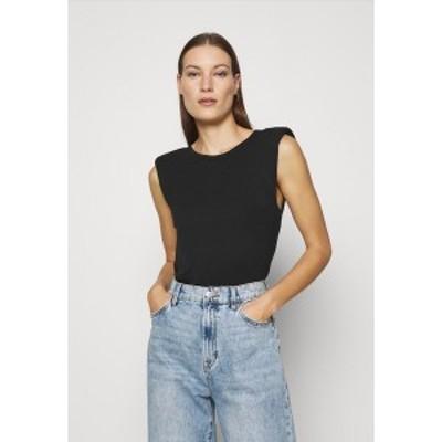ドロシーパーキンス レディース Tシャツ トップス PADDED SHOULDER TEE - Basic T-shirt - black black