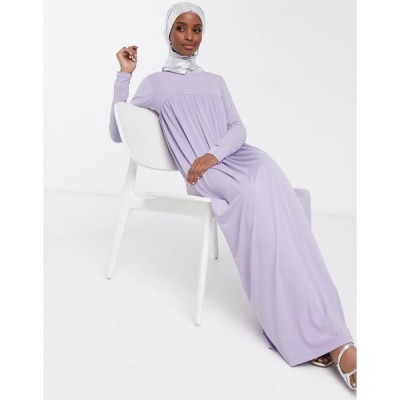 エイソス マキシドレス レディース ASOS DESIGN high smock seam maxi dress with long sleeves in lilac エイソス ASOS