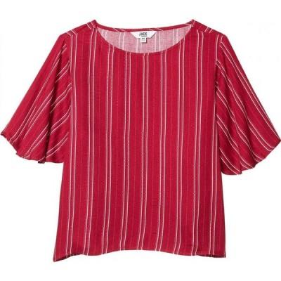 スティーブ マデン BB Dakota x Steve Madden レディース ブラウス・シャツ トップス Printed Rayon Crepe Stripe Blouse with Flutter Sleeve Lipstick Red