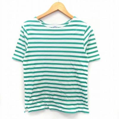 【中古】フリークスストア FREAKS STORE カットソー Tシャツ ボーダー 半袖 ボートネック M グリーン /ST60 レディース 【ベクトル 古着】