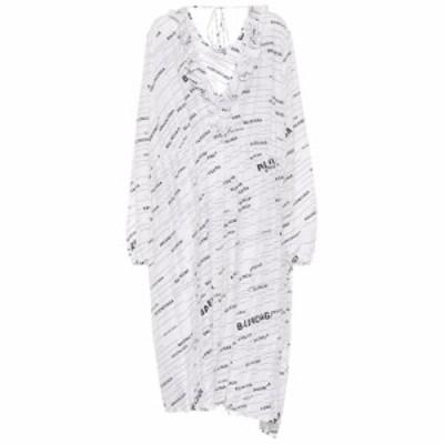 バレンシアガ Balenciaga レディース ワンピース ワンピース・ドレス Logo silk midi dress White/Black