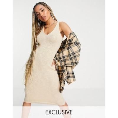 ミスガイデッド ミニドレス レディース Missguided textured knit midaxi dress in beige エイソス ASOS ベージュ