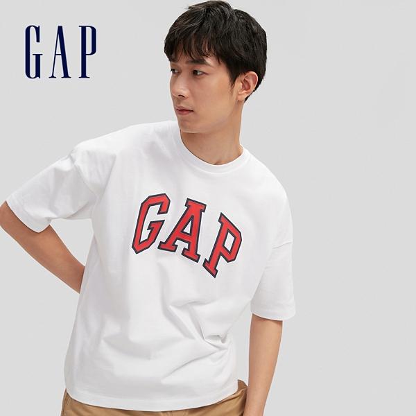 Gap男女同款 Logo純棉圓領短袖T恤 688537-白色