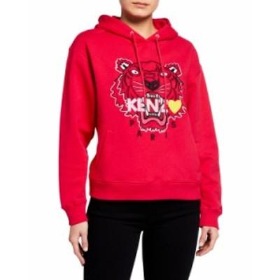 ケンゾー レディース ニット・セーター アウター Tiger Heart Logo Hoodie DEEP FUSCHIA