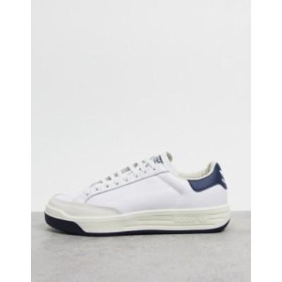 アディダス メンズ スニーカー シューズ adidas Originals Rod Laver sneakers in white with navy heel White