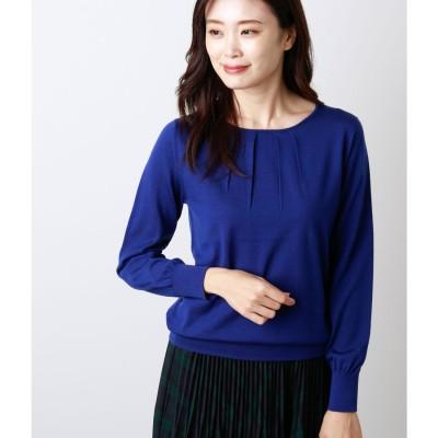 ニューヨーカー NEWYORKER 【Premium Days Knit】ネックデザイン ニットプルオーバー (ブルー)