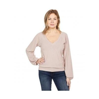 Chaser チェイサー レディース 女性用 ファッション セーター Rpet Cozy Rib Blouson Sleeve Double V Pullover - Porcini