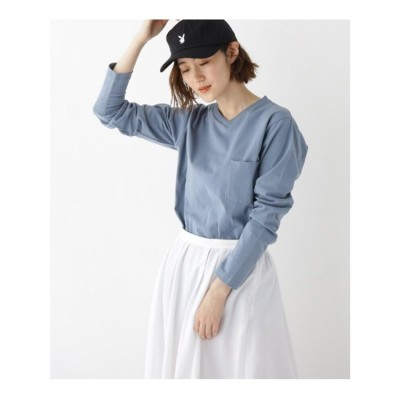 ベース コントロール BASE CONTROL 【WEB限定】長袖 ヘビーウェイトポケットTシャツ Vネック (ライトブルー)