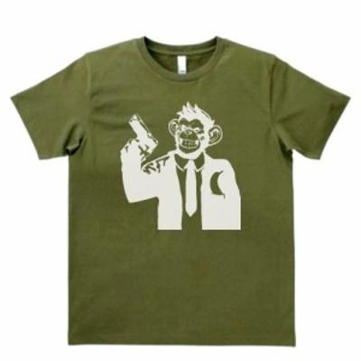 デザインTシャツ サルのヒットマン カーキー