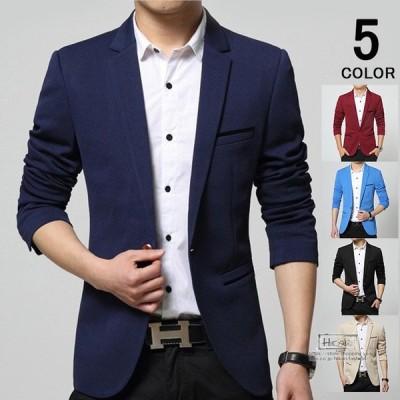 テーラードジャケット メンズ ブレザー スリムジャケット ビジネス 通勤 アウター 紳士服 1つボタン スーツジャケット