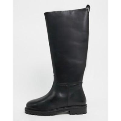エイソス レディース ブーツ・レインブーツ シューズ ASOS DESIGN Cassandra leather pull on knee boots in black Black