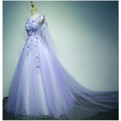 花柄 ロング丈 チュール 安い Aラインワンピース イブニングドレス パーティードレス 結婚式 同窓会 花嫁 プリンセスライン ウエディングドレス ブライダル 冠婚