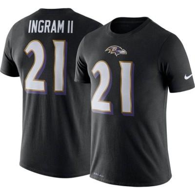 ナイキ Nike メンズ Tシャツ トップス Baltimore Ravens Mark Ingram #21 Logo Black T-Shirt