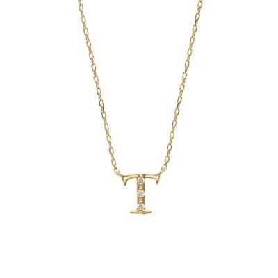 ネックレス レディース 18金 ダイヤモンド K18 イエローゴールド イニシャル T ESTELLE エステール ギフト 普段使い