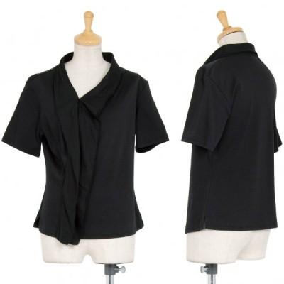 イッセイミヤケISSEY MIYAKE フロントフリル切替Tシャツ 黒2 【レディース】