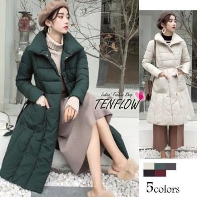 ダウンコート レディース ダウンジャケット 中綿コート ロングコート ダウン Aライン 女性用コート リボン 防寒 大きいサイズ