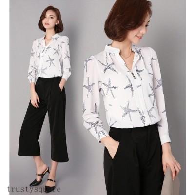 長袖 Vネック シフォンシャツ ブラウス レディース 薄手 トップス 大きいサイズS-3XL 通勤 OL きれいめ 20代30代40代 ファッション 女性 上品 大人 2色