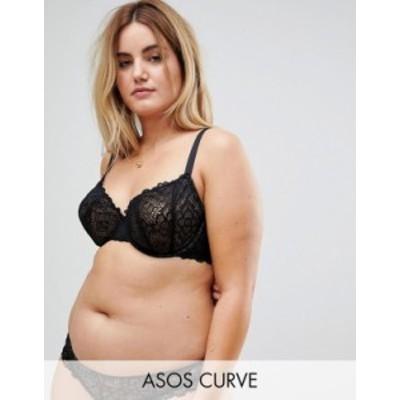 エイソス レディース ブラジャー アンダーウェア ASOS DESIGN Curve Rita lace mix & match underwire bra Black