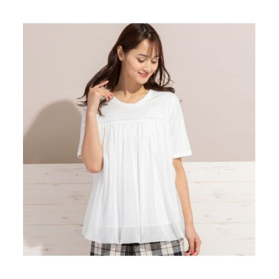 PISANO/ピサーノ チュール重ねバルーン・クラシック天竺Tシャツ オフ LL
