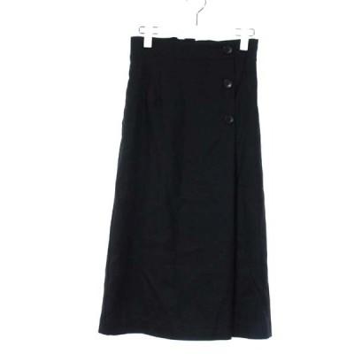 【中古】シップス SHIPS 台形スカート ロング 38 黒 ブラック /MR8 レディース 【ベクトル 古着】