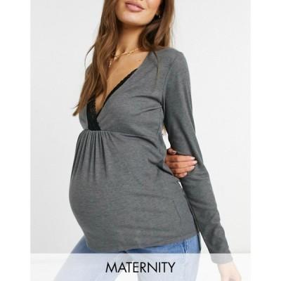 ママリシャス Mama.licious レディース トップス マタニティウェア Mamalicious Maternity Lounge Co-Ord Top With Lace Trim And Nursing Function In Grey