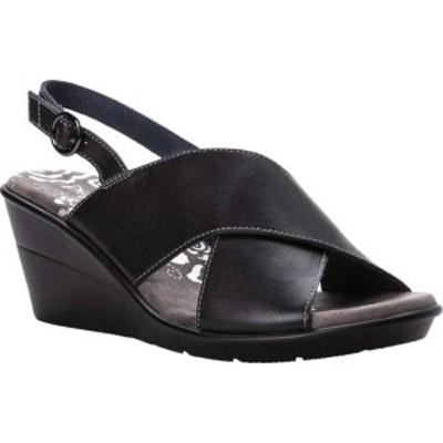 プロペット レディース サンダル シューズ Luna Wedge Heeled Slingback Black Full Grain Leather