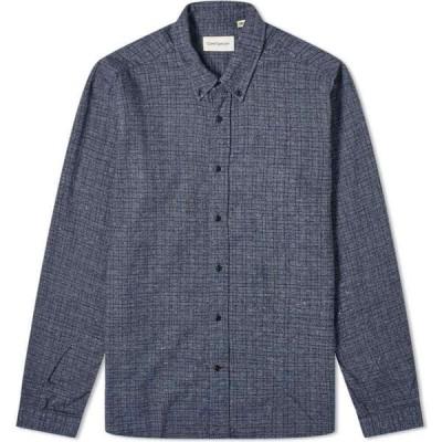 オリバー スペンサー Oliver Spencer メンズ シャツ トップス Brook Micro Check Button Down Shirt Blue