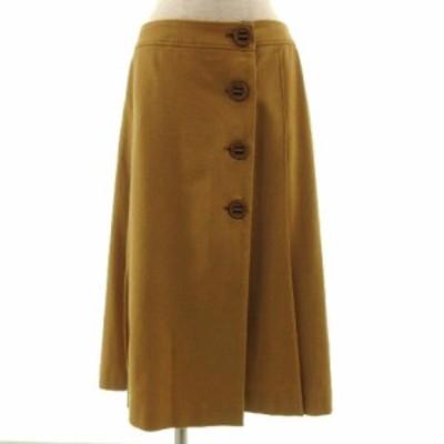 【中古】ロペ ROPE スカート ラップスカート ミモレ丈 ウール混 日本製 マスタード EX-2 レディース