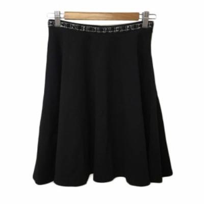 【中古】ナネットレポー nanette lepore スカート フレア ひざ丈 スパンコール M 黒 ブラック レディース