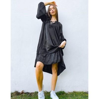 オブジェクト Object レディース ワンピース ワンピース・ドレス tie neck smock dress in black ブラック