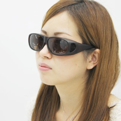 【送料無料】アイリルオーバーグラス<男女兼用>眼鏡の上からかけられるサングラス!(ブラック/ブラウン)