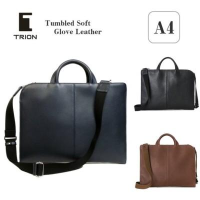 トライオン TRION ビジネスバッグ A4 本革 薄マチ ブリーフケース ドキュメントケース メンズ L字ジッパー ブラック ネイビー チョコ bt201