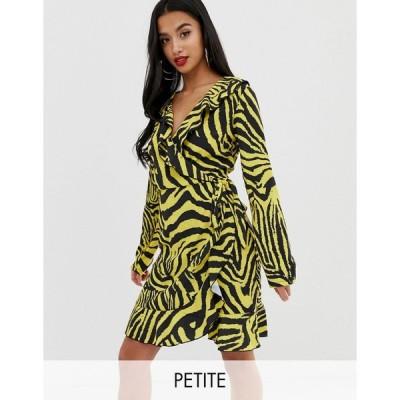 ジョンザック ミディドレス レディース John Zack Petite ruffle wrap front midi tea dress in yellow zebra print エイソス ASOS