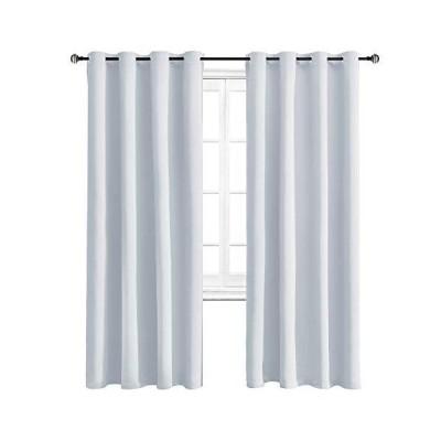 WONTEX 遮光カーテン 部屋を暗くする断熱 リビングルーム用カーテン 52 x 84インチ グレーがかったホワイト グロメットカーテンパネル2枚