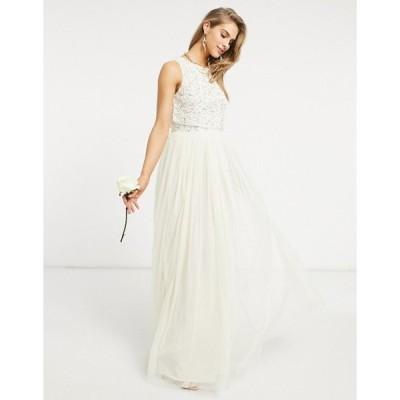 マヤ レディース ワンピース トップス Maya Bridal 2 in 1 maxi tulle dress with tonal delicate sequin in ecru