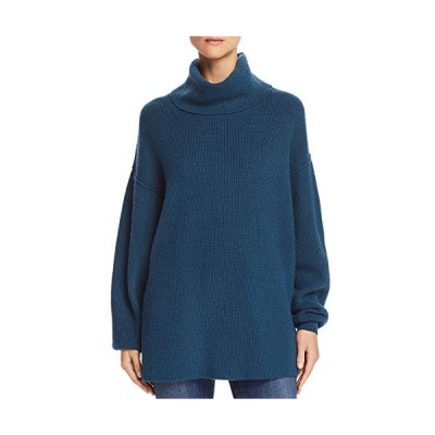 Free People Women's Ribbed Raw Hem Turtleneck Sweater (Small) Blue【並行輸入品】