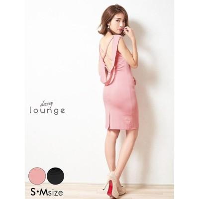 キャバ ドレス キャバドレス ワンピース ミニ S M ワンカラーバッククロスノースリタイト ミニドレス dazzylounge 私服 ピンク 黒