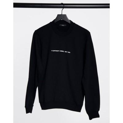 ディーゼル Diesel レディース スウェット・トレーナー トップス Ang copyright type logo sweatshirt in black