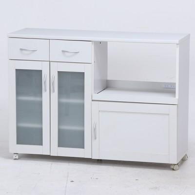 不二貿易 99462 キッチンカウンター サージュ WH 120幅 ホワイト キッチン収納