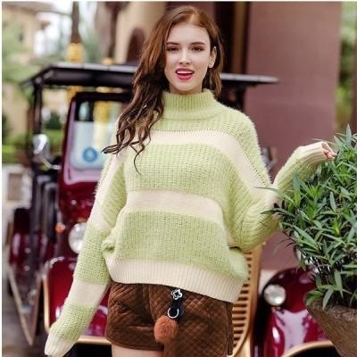 ニットセーター長袖ハイネックプルオーバーセーターモヘアセーター伸縮性ニットセーターニットゆったりトップスストレッチ