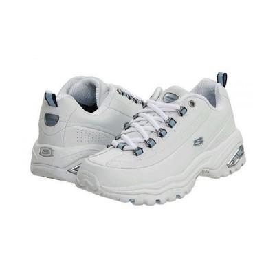 SKECHERS スケッチャーズ レディース 女性用 シューズ 靴 スニーカー 運動靴 Premiums - White Smooth Leather/Blue Trim