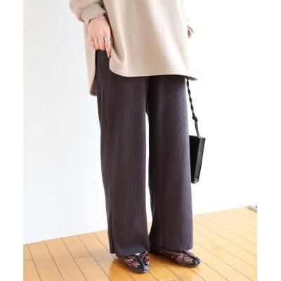 【アンドミー】 セルフカットリブワイドパンツ ウエストゴム レディース ブラック系1 Mサイズ and Me...