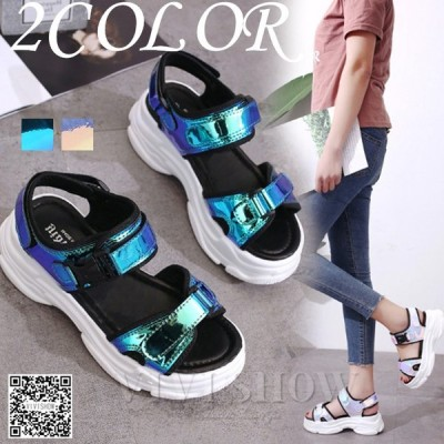 スポサン メタルカラー レディース サンダル 厚底 靴 マジックテープ 可愛い 新作